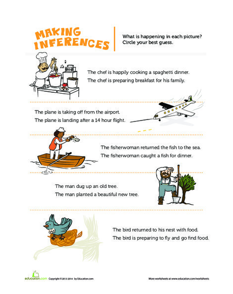 First Grade Reading & Writing Worksheets: Making Inferences Pictures