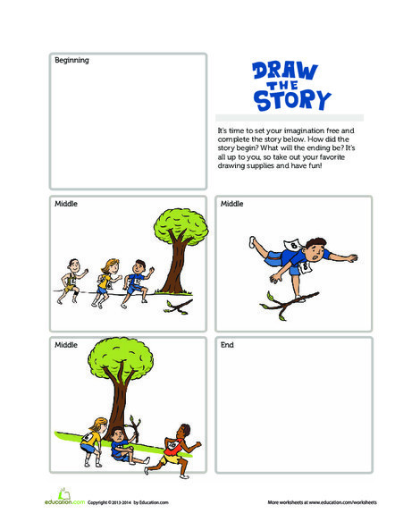 First Grade Reading & Writing Worksheets: Draw the Story