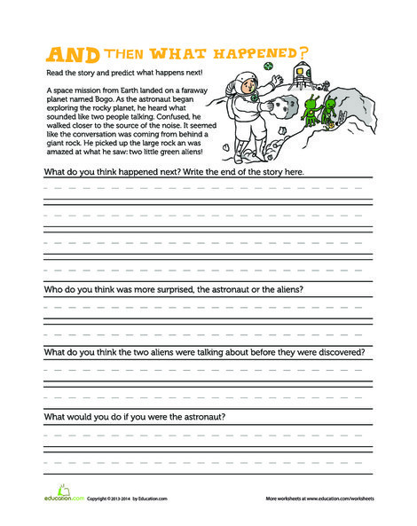 First Grade Reading & Writing Worksheets: What Will Happen Next?