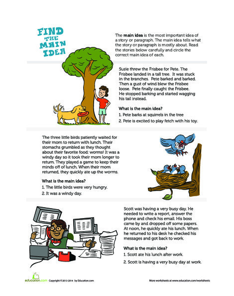 First Grade Reading & Writing Worksheets: Main Idea of a Story