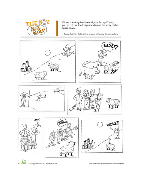 First Grade Reading & Writing Worksheets: The Boy Who Cried Wolf Story
