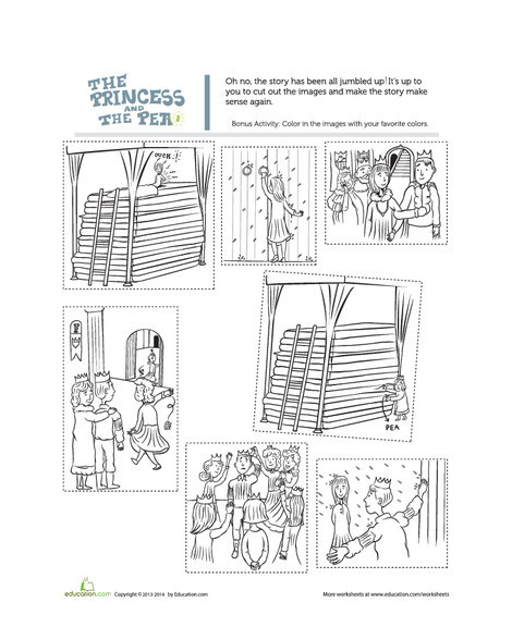First Grade Reading & Writing Worksheets: The Princess and the Pea Story