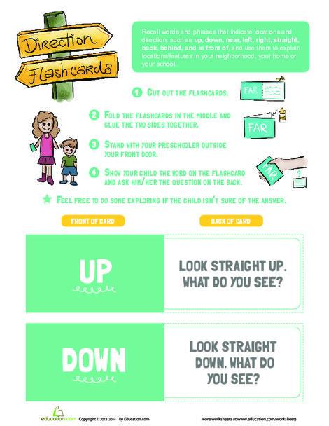 Preschool Reading & Writing Worksheets: Direction Flashcards