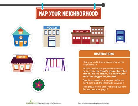 Preschool Math Worksheets: Map Your Neighborhood