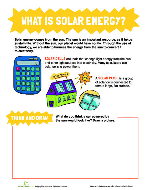 Third Grade Science Worksheets: What is Solar Energy