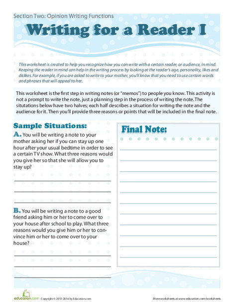 Fourth Grade Reading & Writing Worksheets: Writing for a Reader