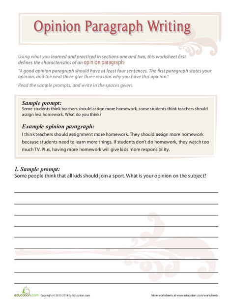 Fourth Grade Reading & Writing Worksheets: Opinion Paragraphs