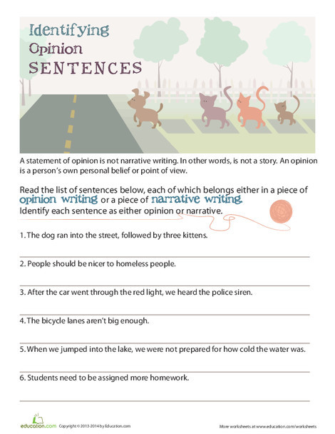 Fourth Grade Reading & Writing Worksheets: Opinion vs Fact