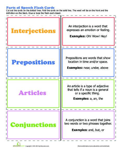 Third Grade Reading & Writing Worksheets: Parts of Speech Worksheet