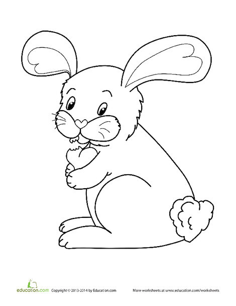 Kindergarten Coloring Worksheets: Valentine's Day Bunny Coloring Page