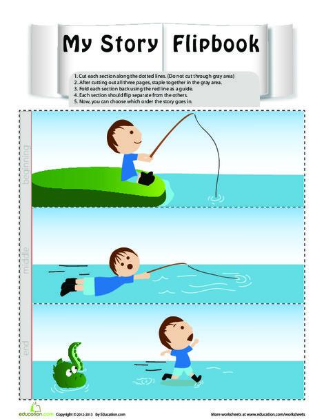 Preschool Reading & Writing Worksheets: Flip Book Story