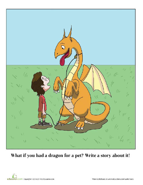 Fourth Grade Reading & Writing Worksheets: Pet Dragon