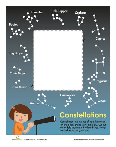 First Grade Science Worksheets: Constellation Chart