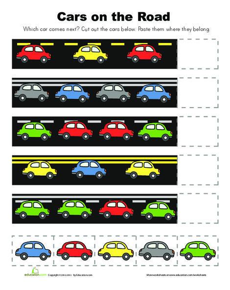 Kindergarten Math Worksheets: Cut and Paste Patterns