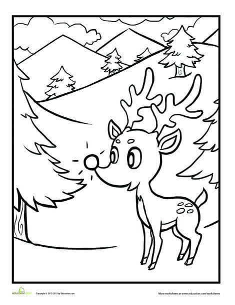 Kindergarten Holidays Worksheets: Rudolph the Red Nosed Reindeer