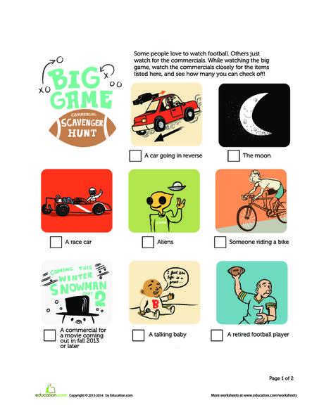 Second Grade Offline games Worksheets: TV Commercial Scavenger Hunt for the Big Game