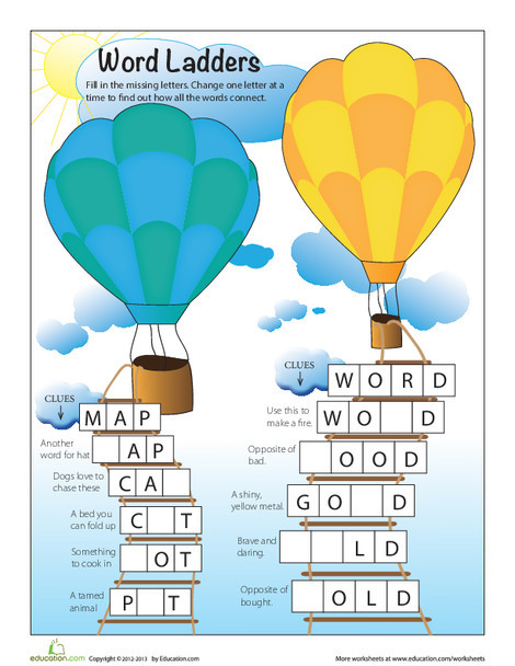 First Grade Offline games Worksheets: Word Ladders