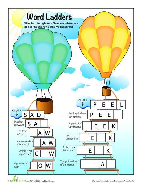 First Grade Offline games Worksheets: Word Ladder Puzzles