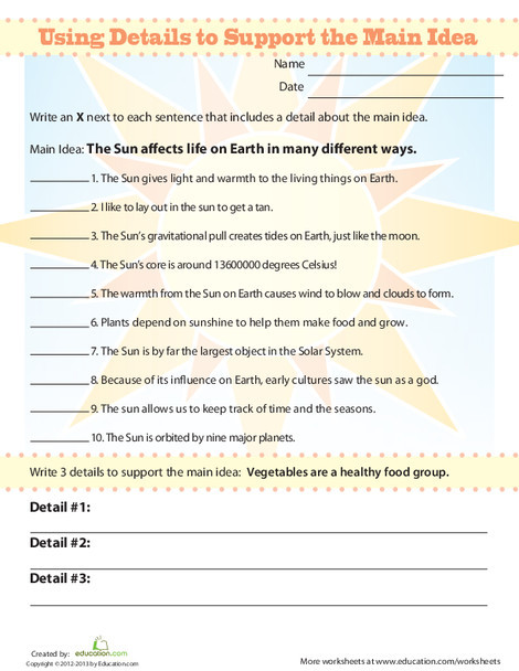 Third Grade Reading & Writing Worksheets: Identify Supporting Details