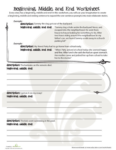 Third Grade Reading & Writing Worksheets: Beginning, Middle, End