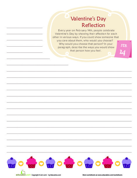 Fourth Grade Reading & Writing Worksheets: Valentine's Day Reflection