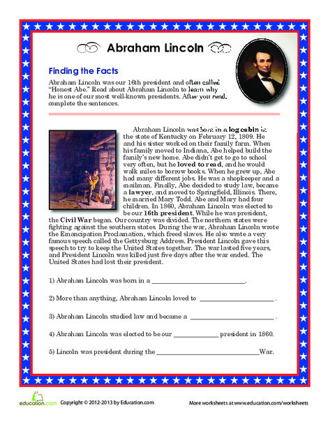 Second Grade Social studies Worksheets: Abraham Lincoln Facts