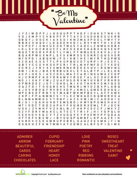 Fourth Grade Offline games Worksheets: Valentine's Day Lovely Word Search