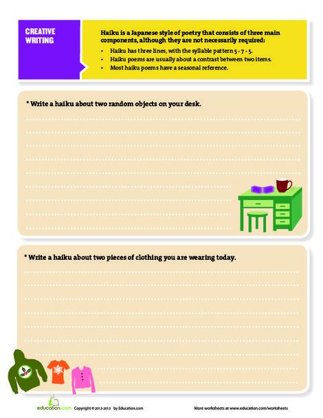 Fourth Grade Reading & Writing Worksheets: Haiku for Kids