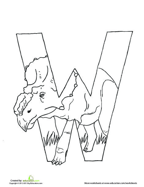 Preschool Reading & Writing Worksheets: Dino W