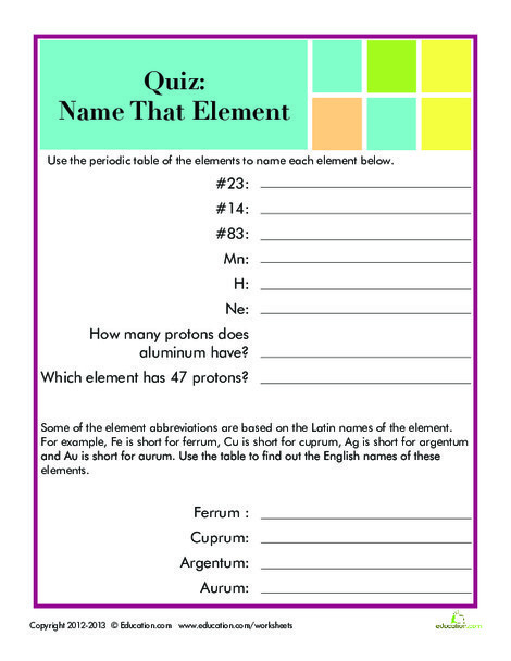 Fifth Grade Science Worksheets: Periodic Table Quiz