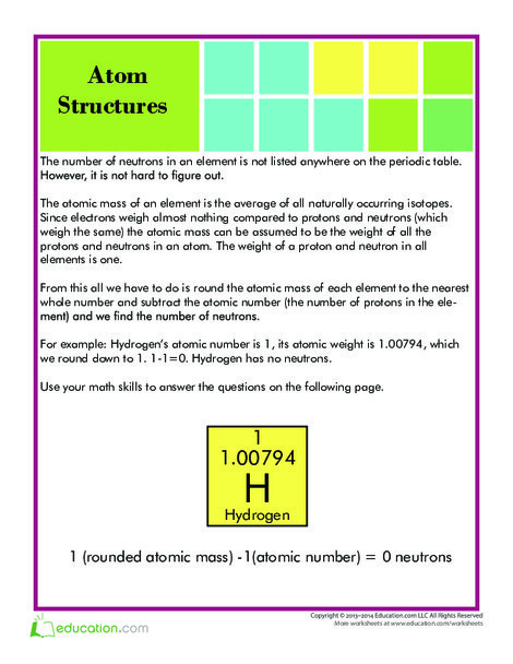 Fifth Grade Science Worksheets: Number of Neutrons