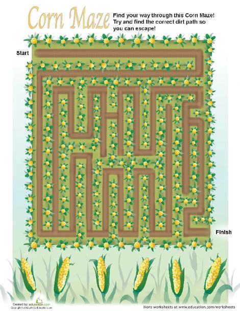 First Grade Offline games Worksheets: Cornfield Maze