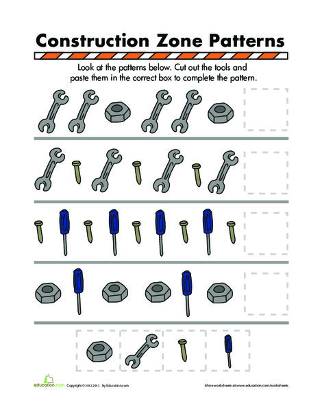 Preschool Math Worksheets: Construction Patterns
