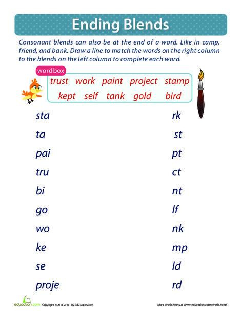 First Grade Reading & Writing Worksheets: Ending Consonant Blends