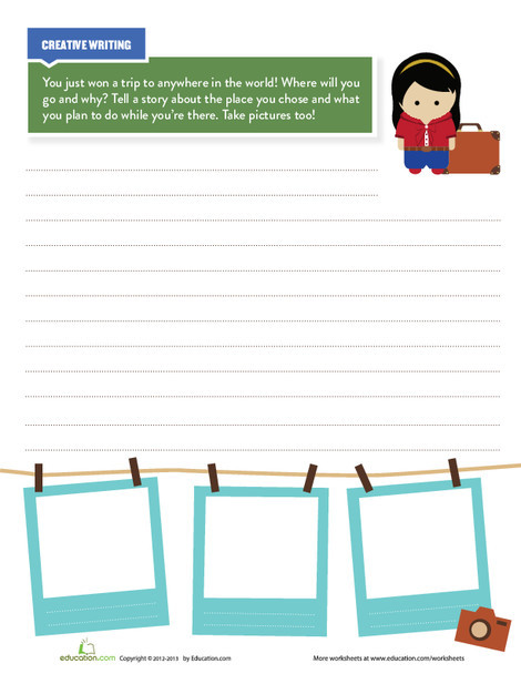 Third Grade Reading & Writing Worksheets: Travel Writing Prompt