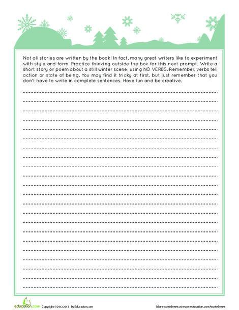 Fourth Grade Reading & Writing Worksheets: Winter Writing: No Verbs