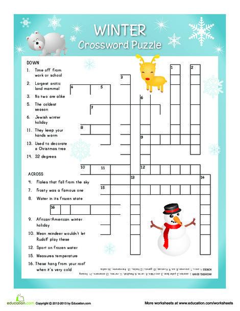 Fifth Grade Reading & Writing Worksheets: Winter Crossword