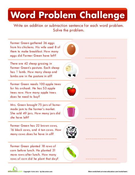 First Grade Math Worksheets: Word Problem Challenge