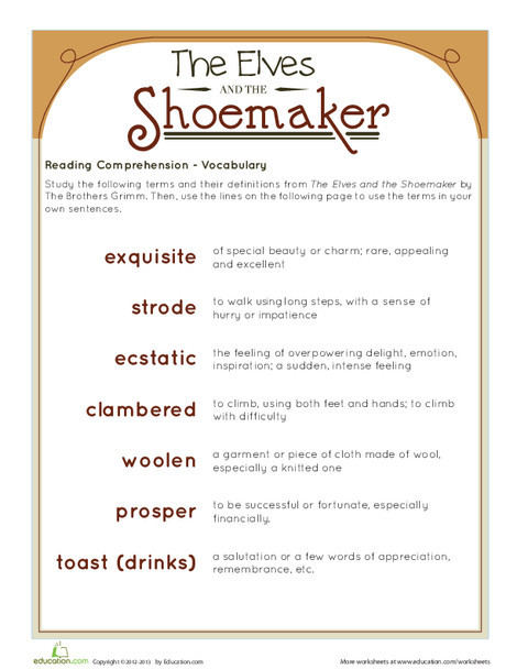 Second Grade Holidays Worksheets: The Elves and the Shoemaker: Vocabulary