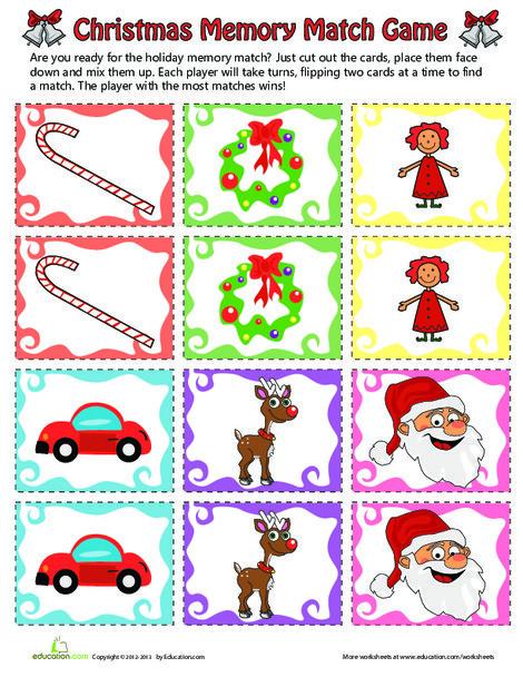 Kindergarten Holidays Worksheets: Christmas Match Game