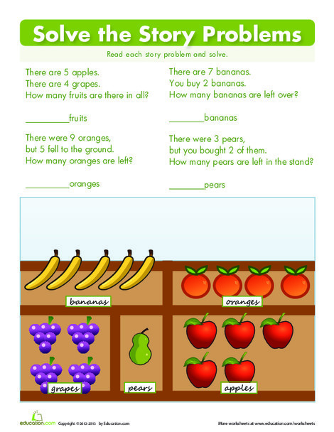 First Grade Math Worksheets: Solving Story Problems