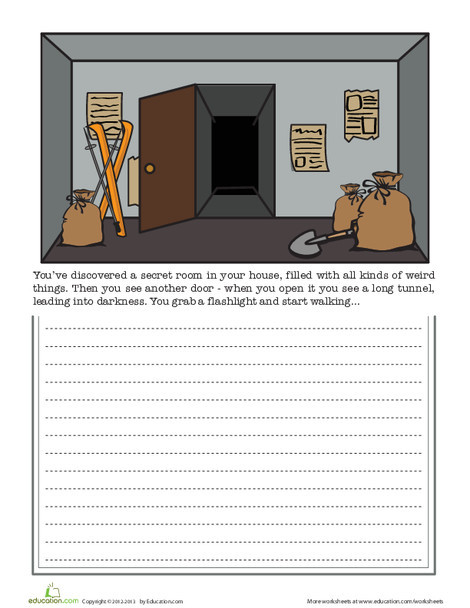 Fourth Grade Reading & Writing Worksheets: Secret Door Writing Prompt