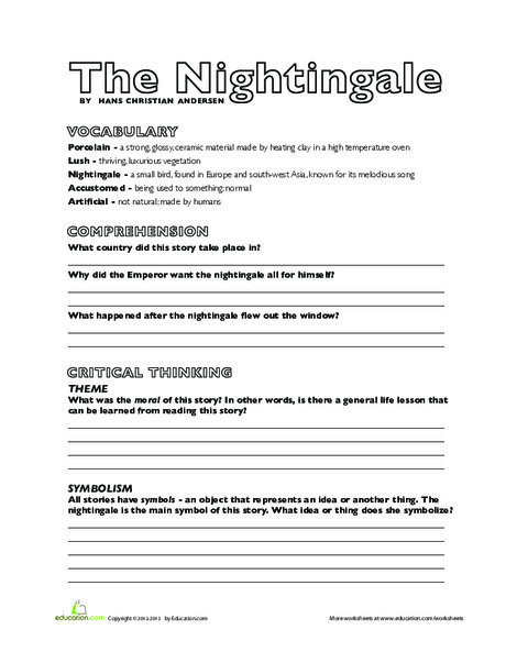 Third Grade Reading & Writing Worksheets: The Nightingale Comprehension