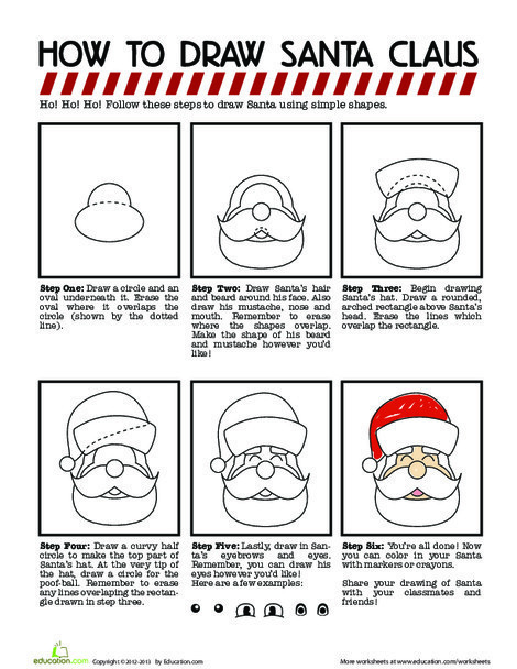 Fourth Grade Offline games Worksheets: How to Draw Santa