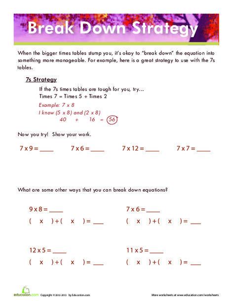 Third Grade Math Worksheets: Multiplication Strategy