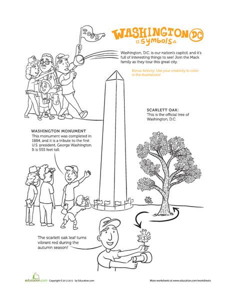 Second Grade Coloring Worksheets: Washington, D.C. Symbols