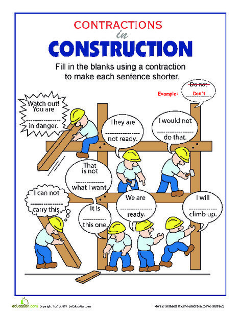 Third Grade Reading & Writing Worksheets: Contractions in Construction
