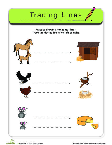 Preschool Reading & Writing Worksheets: Trace a Line