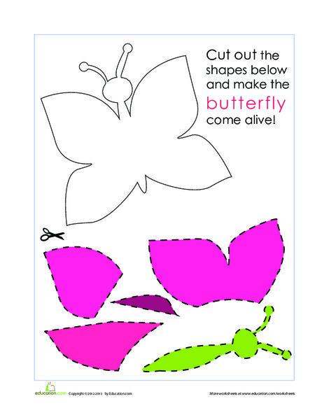 Kindergarten Arts & crafts Worksheets: Paper Butterfly