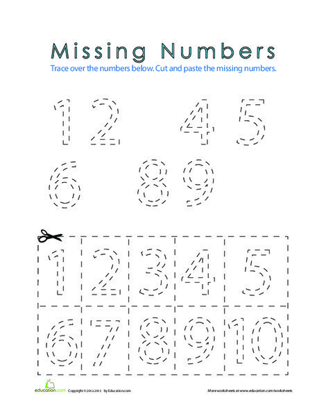 Preschool Math Worksheets: Fill in the Missing Numbers